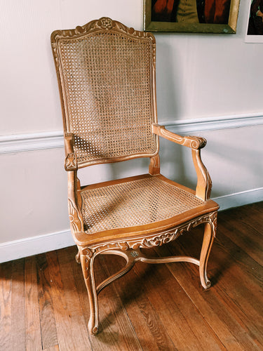Carved Light Wood French Cane Arm Chair