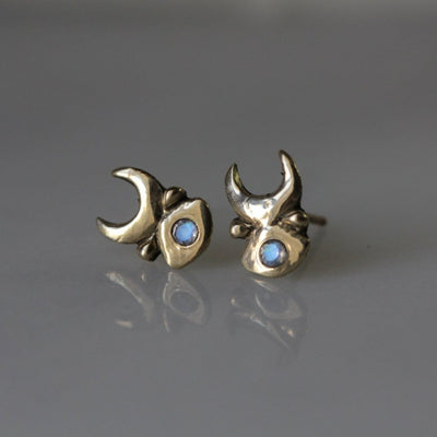 kelly star lannen, 12th house jewelry, ceremonial and celestial jewelry, sustainable jewelry, jewelry sculptor in NYC, handmade jewelry in NYC, bridesmaids gifts, Inanna Studs in 14k Yellow Gold with Rainbow Moonstone, Crescent Moon studs, Dainty Gold Moon jewelry, June Birthstone