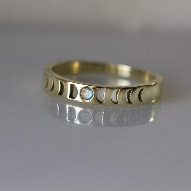 Bisclavret Moon phase Ring in Gold with Rainbow Moonstone, Moon phase wedding band, Phases of the moon, Moonstone engagement ring, gift ideas, 12th HOUSE JEWELRY, moon phase collection, ceremonial and celestial, 12th house astrology, ethically sourced gemstones, celestial jewelry, alternative bridal, indie wedding, boho style wedding