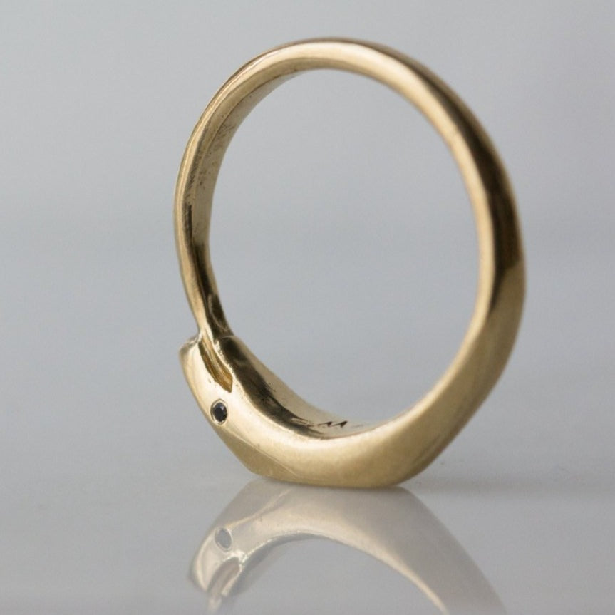 kelly star lannen, 12th house jewelry, ceremonial and celestial jewelry, sustainable jewelry, jewelry sculptor in NYC, handmade jewelry in NYC, Ouroboros Ring in Solid 14k Yellow gold with black diamond eyes, Ouroboros wedding band, Black diamond ring, Snake Ring, Eternity Symbol