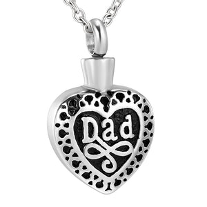 Close up View of Dad Cremation Jewelry Showing Heart Texture
