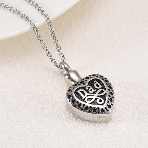 Dad Cremation Jewelry - Close Up of Heart With Inscription