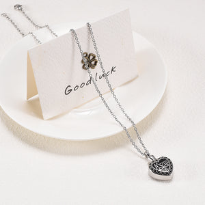 Cremation Jewelry For Mom Draped Over Card and Plate