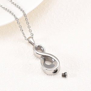Infinity Cremation Necklace Opened