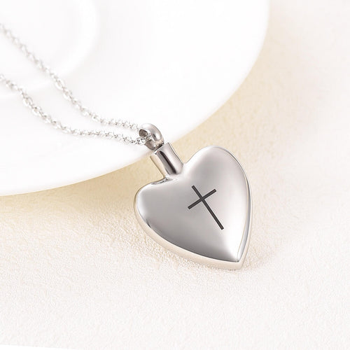 Heart Cremation Pendant With Cross and Chain