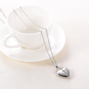 Memorial Heart Pendant With Cross -  With Coffee Cup to Show Size