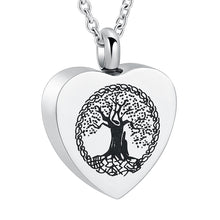 Load image into Gallery viewer, Heart Cremation Pendant With Tree of Life - Close Up