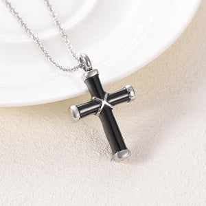 Black Cross Necklace - Front View