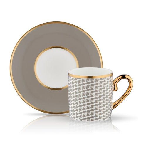Light Brown Coffee Cup and Saucer with gold details