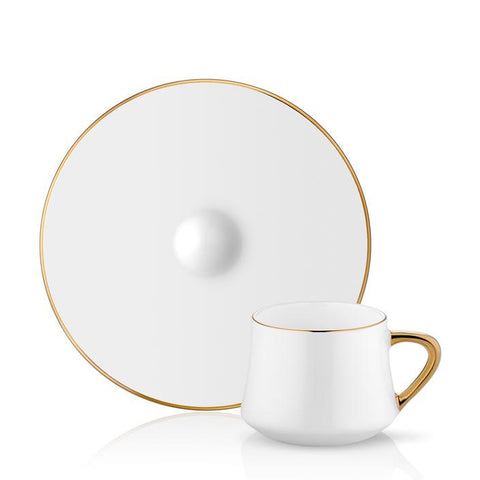 white plain coffee cup and saucer