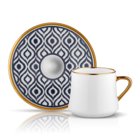 White Coffee cup with gold detail and blue saucer with gold saucer