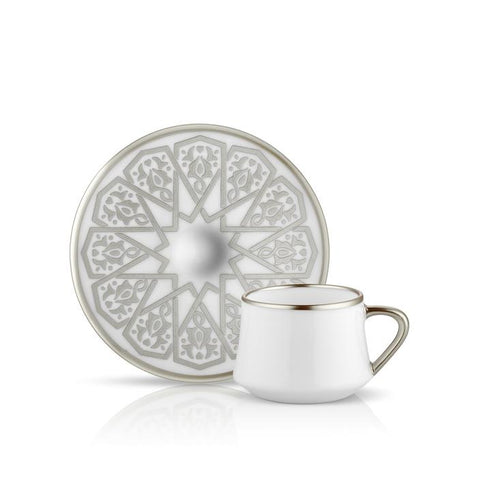 White Coffee Cup and Saucer with Grey Detail
