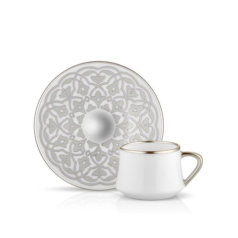 grey pattern coffee cup and saucer
