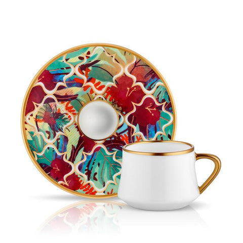 Red Floral Coffee Cup and Saucer