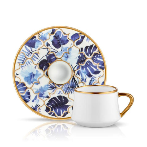 blue flower pattern coffee cup and saucer