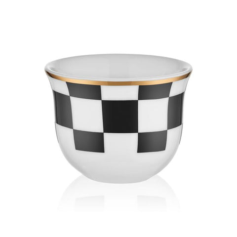 70 cc black and white decorated coffee cup with mat gold rim