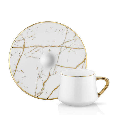 Sufi Marble Turkish Coffee Cup 90 cc + Saucer Matte Gold White - Set of 6