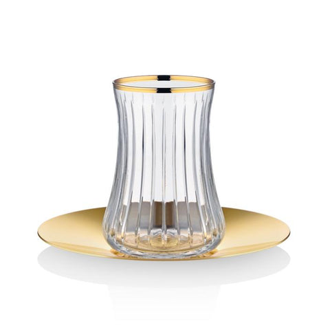 Click to shop Dervish Prestige Tea Glass and Saucer - Gold
