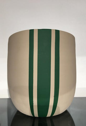 Plant Pot - Cream and Green Vertical Stripe