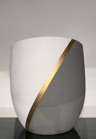 Plant Pot, White and Gray