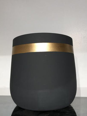 Plant Pot, Dark Gray and Gold Stripe