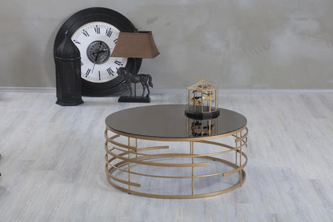 black and gold round coffee table