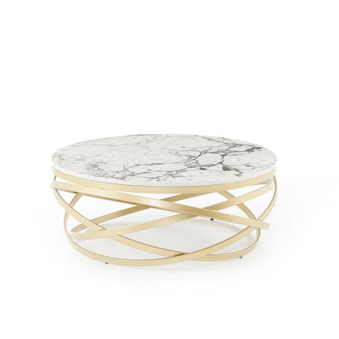 gold and white marble coffee table