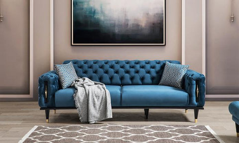 Blue Sofa with two pillows