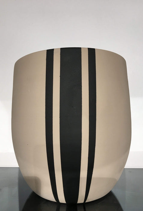 Atmacha - Home and Living Accessories Plant Pot - Cream and Black Vertical Stripe