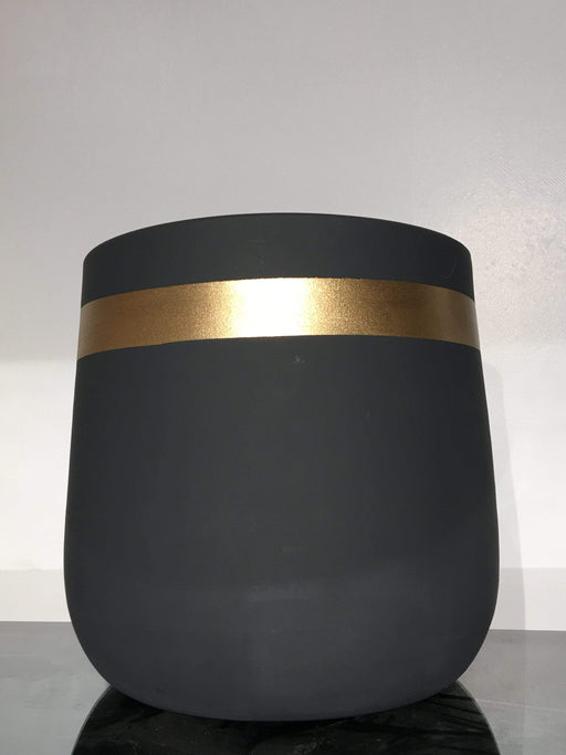 Atmacha - Home and Living Accessories Plant Pot - Dark Grey and Gold Stripe