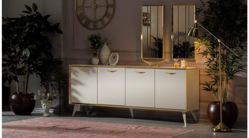 Atmacha - Home and Living Chengo Cream Sideboard with Gold Frame Mirror