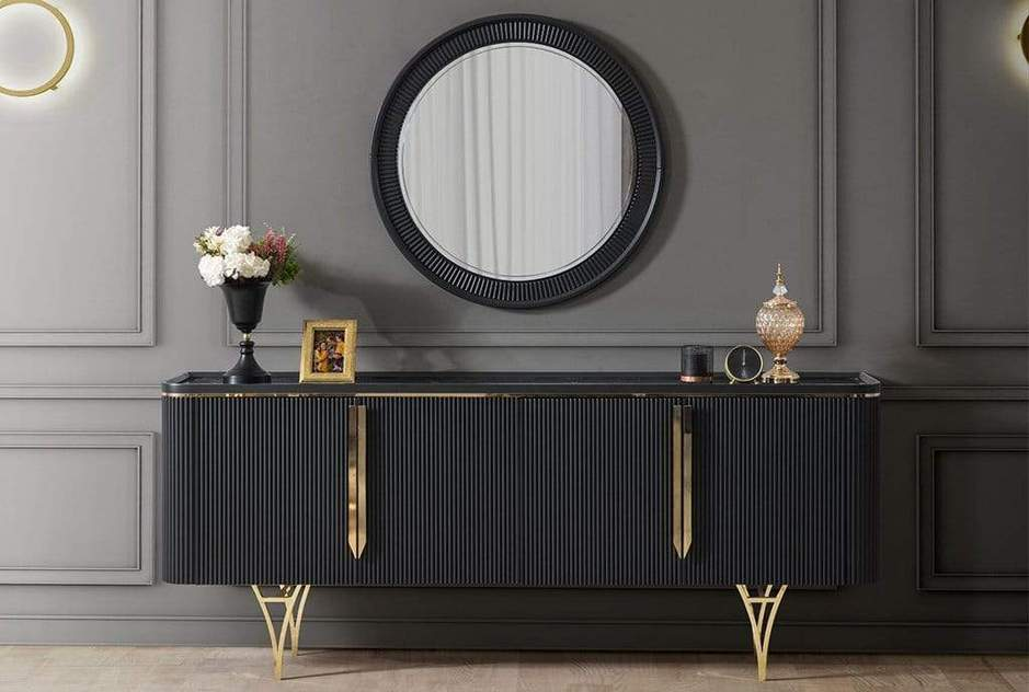 Atmacha - Home and Living Console Gold / Black Gustava Sideboard - White & Gold