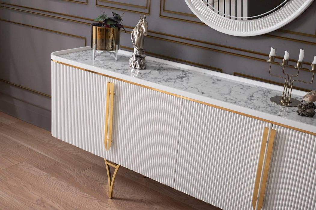 Atmacha - Home and Living Console Gustava Sideboard - White & Gold