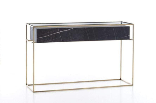 Atmacha - Home and Living Console Sleek Black Marble Affect With Gold Legs Sleek Console