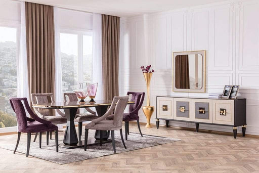 Golden Dining Table & 6 Chairs & Sideboard & Mirror - Atmacha - Home and Living
