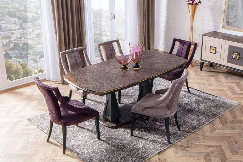Atmacha - Home and Living Dining Room Set Golden Dining Table & 6 Chairs & Sideboard & Mirror
