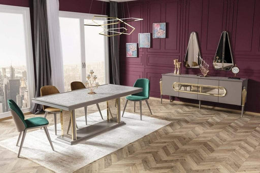 Atmacha - Home and Living Dining Room Set Minimal Dining Table & 6 Chairs & Sideboard & Mirror
