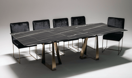 Atmacha - Home and Living Dining Table Black Marble Effect Talia Extendable Dining Table