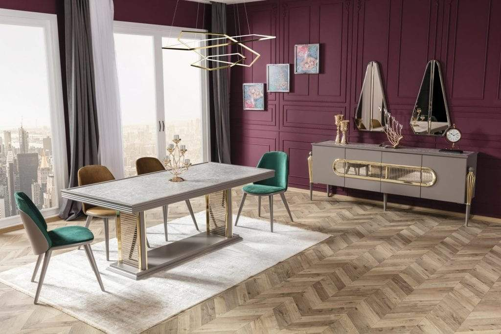 Atmacha - Home and Living Dining Table Dining Table & 6 Chairs & Sideboard & Mirror Minimal Living Room Set