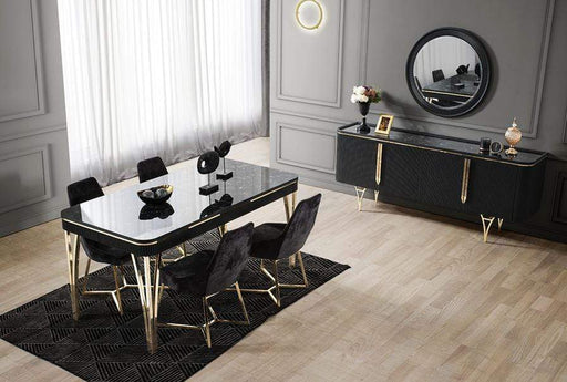 Atmacha - Home and Living Dining Table Gold / Anthracite Marble Effect Gustava Extendable Dining Table