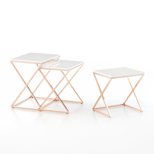 Atmacha - Home and Living Nest of Table Dotori Nest of Table - White and Rose Gold