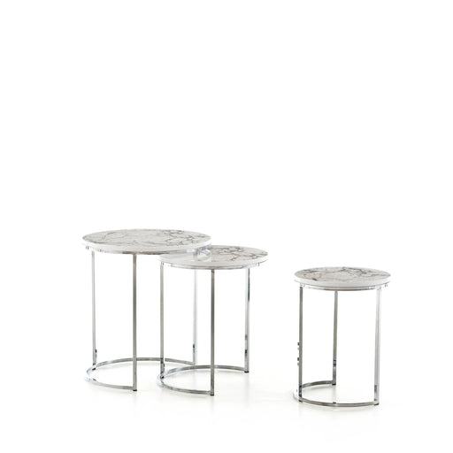 Atmacha - Home and Living Nest of Table Global Doha Nest of Table - White Marble Effect and Grey