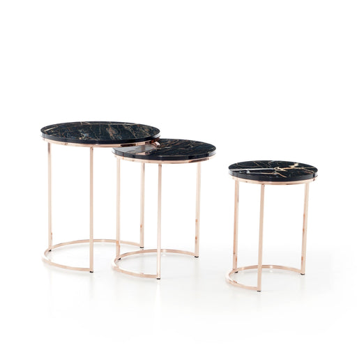 Atmacha - Home and Living Nest of Table Global Nest of Table - Black Marble Effect and Gold
