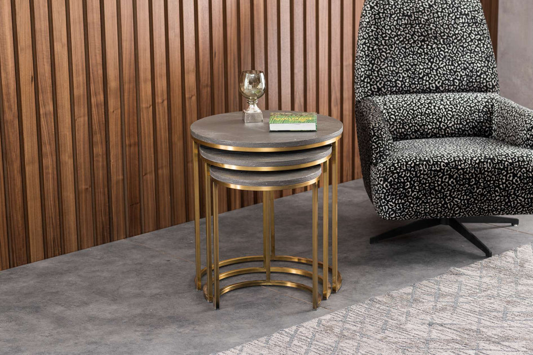Atmacha - Home and Living Nest of Table Grey Top & Gold Leg Global Doha Nesting Table