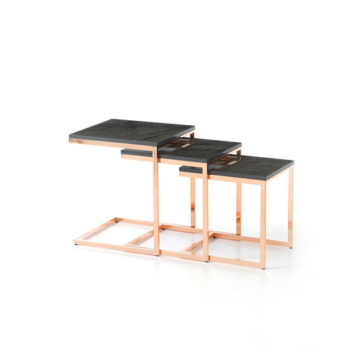 Atmacha - Home and Living Nest of Table Sleek Nest of Table - Rose Gold & Black Marble Effect