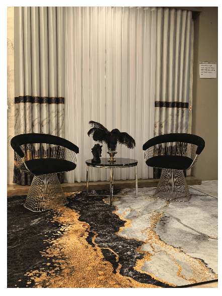 Atmacha - Home and Living Rug Dena Rug - Marble effect with gold veins, Black, Gold, Grey, White