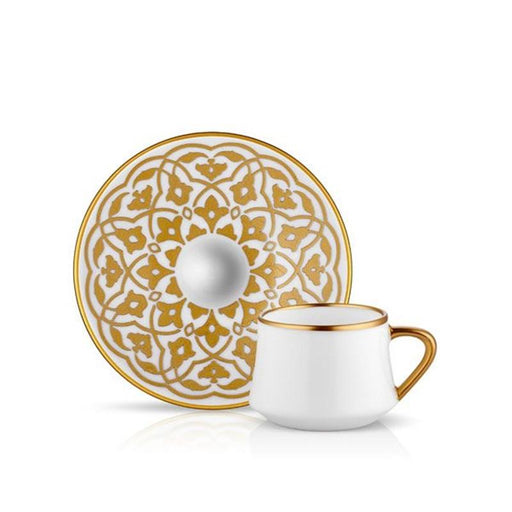 Atmacha - Home and Living Tea Glass and Saucer SUFI TULIP TURKISH COFFEE SET Cup+Saucer MAT GOLD