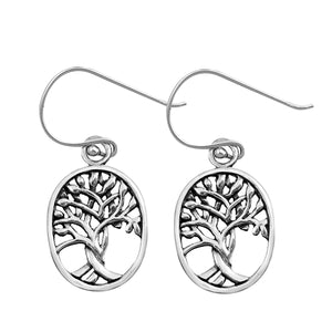 Handcast 925 Sterling Silver Celtic Tree of Life Dangle Earrings
