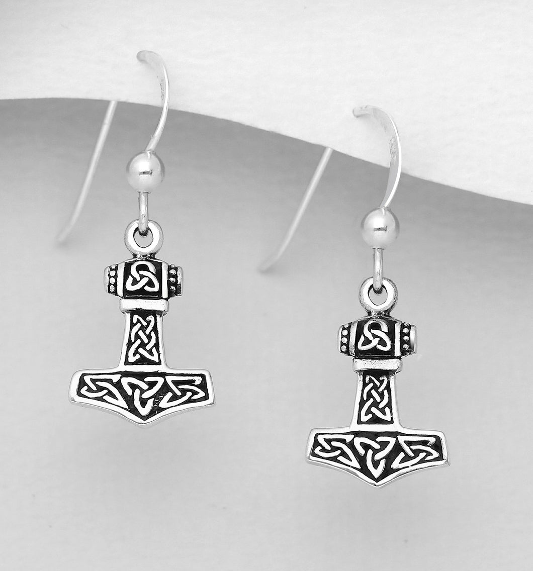 Handcast 925 Sterling Silver Viking Thor's Hammer Mjolnir Dangle Earrings