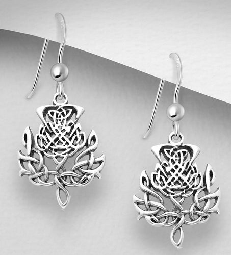Handcast 925 Sterling Silver Scottish Thistle Dangle Earrings